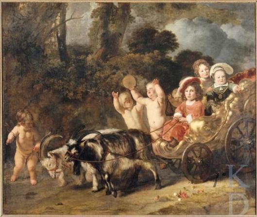 Schilderij van Ferdinand Bol uit 1654 thans in het Louvre. Voorstelling van twee putti en een bokkenwagen met drie kinderen van het echtpaar Hendrik Trip en Johanna de Geer. V.l.n.r. Mathias (1648-1695), Jacob (ca. 1650-1695) en Louis Trip (1653-1707). (RKD, iconografisch bureau)