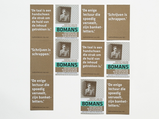 Boekenlegger tentoonstelling Godfried Bomans in de Hallen, Haarlem