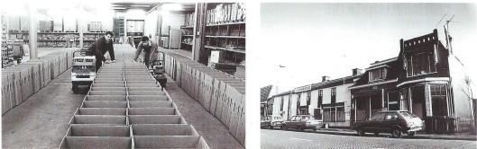 Links het inpakken van bloembollen in het vm. pakhuis van J. Bonkenburg & Co en rechts: de voorzijde van het inmiddels afgebroken en vervangen pakhuis van Bonkenburg.