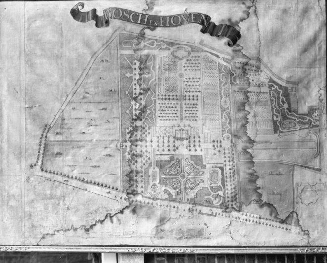 18e eeuwse tuinplattegrond van Bosch en Hoven in het Noord-Hollands Archief