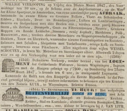 Advertentie verhuur van Bosch en Berg door J.van Lith uit het Algemeen Dagblad van 23 maart 1847