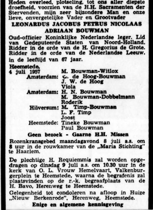 Overlijdensadvertentie van Leonardus Joannes, Petrus Nicolaas Arie Bouwman uit De Tijd van 5-7-1957
