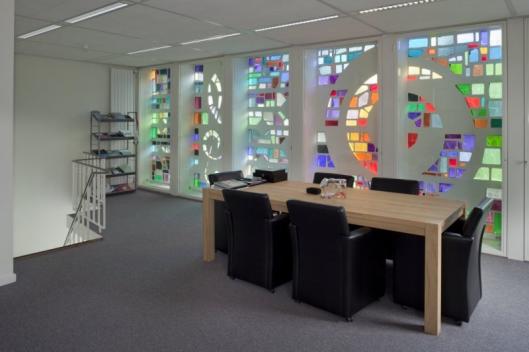 Glas-in-beton, in voormalig kantoor van Bovema, Overboslaan Heemstede (foto G.C.Booms)