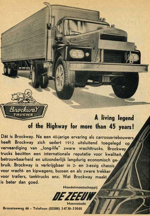 Handelmaatschappij De Zeeuw, Bronsteeweg 86 Heemstede leverde Brockway trucks. Advertentie uit 1952