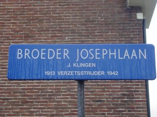 Straatnaambordje Broeder Josephlaan in Verzetsheldenwijk Heemstede