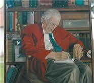Portret van Johan Brouwer door An Luthard in bibliotheek Heemstede