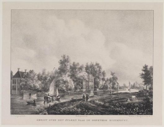 De hofstede Buitenrust aan het Zuider Buiten Spaarne (P.J.Lutgers, 1842)