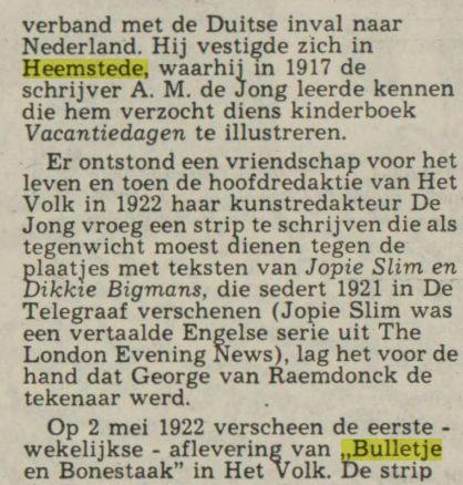 'Tijdens de eerste wereldoorlog vluchtte Van Raemdonck - inmiddels getrouwd en vader van een dochter - in..'(Leeuwarder Courant, 29-10-1977)