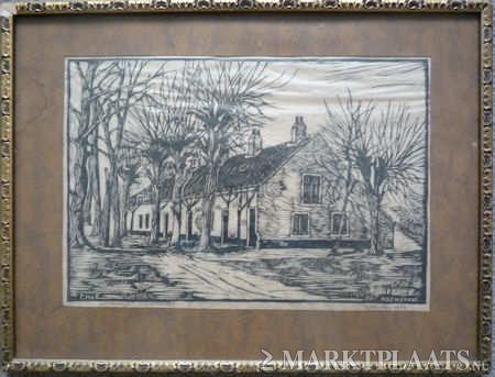 Het bullenhofje op een houtgravure van F.H.van Emmerik