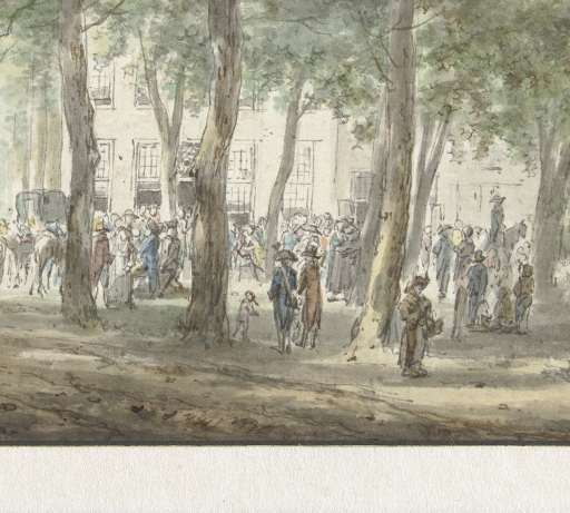 Hermanus van Bussel (1773-1815). tekening van Gezicht in de Haarlemmerhout met een menigte mensen voor het Heerenlogement (Rijksmuseum Amsterdam)