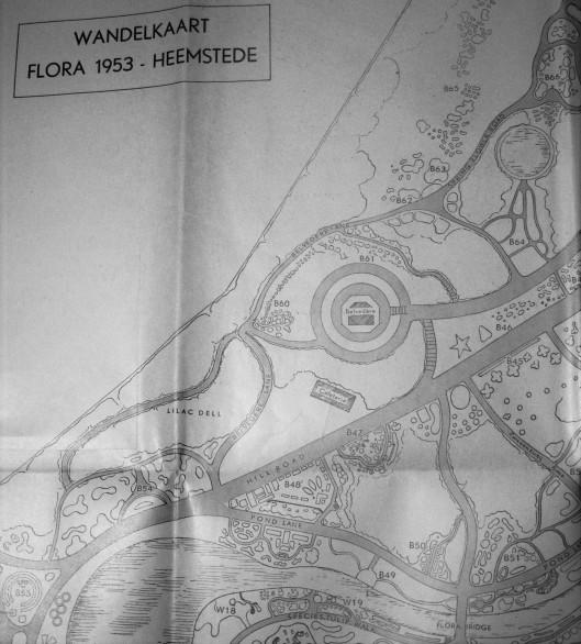 Situering cafetaria nabij Belvedere op een Flora-plattegrond uit 1953
