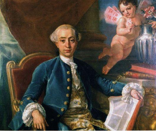 Portret van Giacomo Casanova, geboren in Venetië (1724) en overleden in Dux (1798)