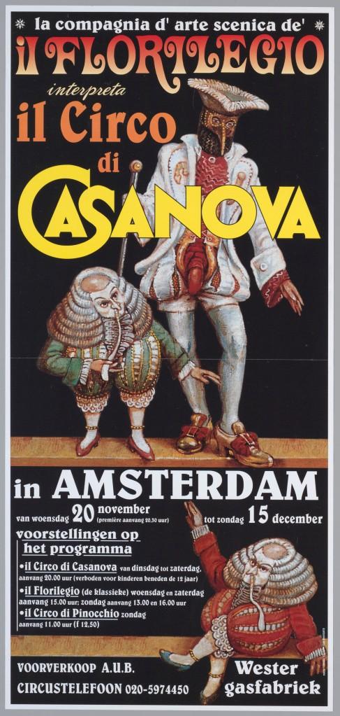 Aan Casanova zijn talrijke films en boeken gewijd, maar ook opera's, operettes, toneelbrwekingen en een revue. Bovenstaand een affiche in steendruk gewijd aan circusvoorstelling uit 1996.