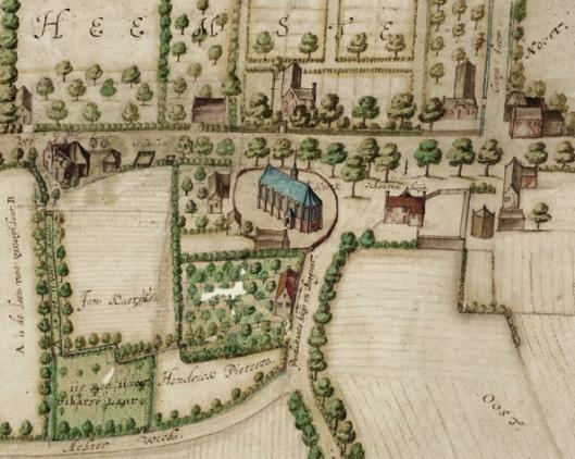 Kaart van het dorp Heemstede door Floriszoon van Berckenrode uit 1627 met de kerk en daarboven de hofstede Valckenburg