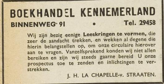 Advertentie uit de Eerste Heemsteedsche Courant van 1940