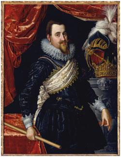 Portret van koning Christiaan IV (1577-1648) die evenals zijn opvolger Frederik III veel te danken had aan Gabriel marcelis. Schilderij uit 1614 van de Nederlands-Deense kunstenaar Pieter Isaacsz.