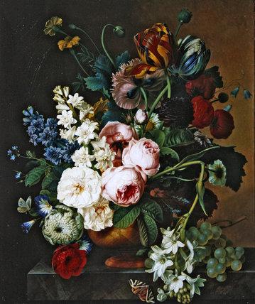 Bouquet bloemen op olieverfschilderij van Christiaan van Pol