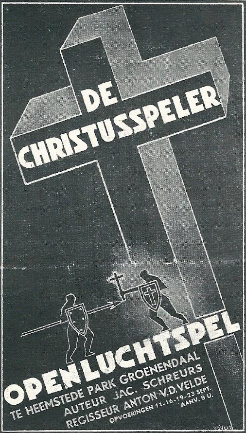 Brochure van openluchtspel 'de Christusspeler'in september 1937 opgevoerd in wandelbos Groenendaal