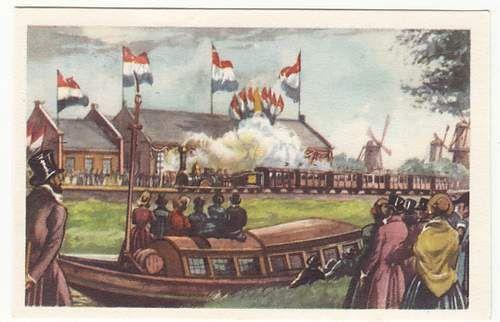 Chromoplaatje met voorstelling van de eerste spoorlijnverbinding tussen Amsterdam en Haarlem