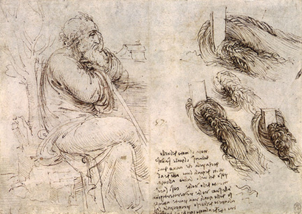 Pagina met illustratie uit de Codex Hammer ofwel Codex Leicester, door Leonardo da Vinci