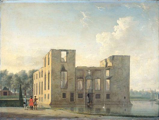 Voorzijde van het kasteel Berkenrode na de brand in de nacht van 4 op 5 mei 1747. Schilderij door Jan ten Compe in het Rijksmuseum