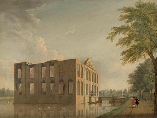 Voorzijde van kasteel Berkenrode na de brand van 4-5 mei 1747. Schilderij van Jan ten Compe (Rijksmuseum)