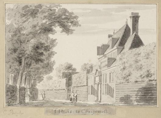 Teking van het huis te Crayenest door Cornelis Pronk (1691-1759) (Teylers Museum)