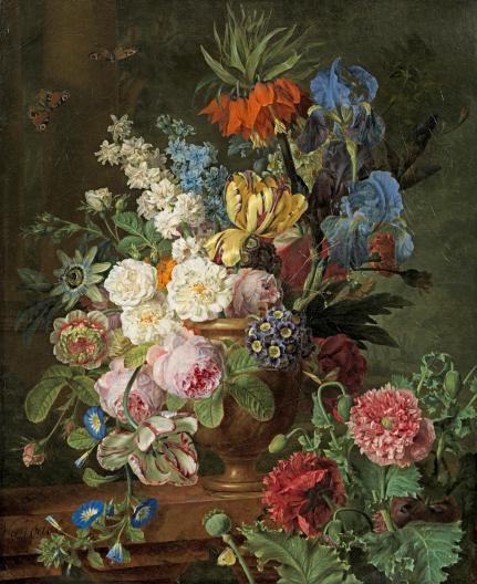 Olieverfdoek van een bouquet bloemen door de leermeester an Christiaan van Pol: Albert van Dael