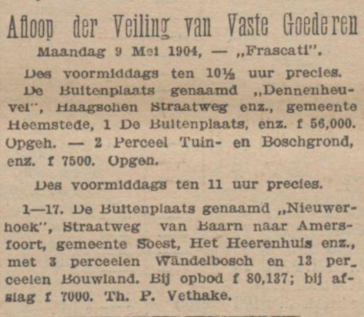 Alweer in 1903 is Dennenheuvel aan de Haagsche Straatweg te koop aangeboden en omdat aankoop uitbleef wederom op 9 mei 1904 (annonce uit de Tijd)