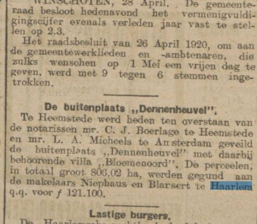 In 1925 is Dennenheuvel door de erven Berg verkocht via een makelaarsbureau aan de familie Rhodius Bunge (Algemeen Handelsblad, 29-4-1925)