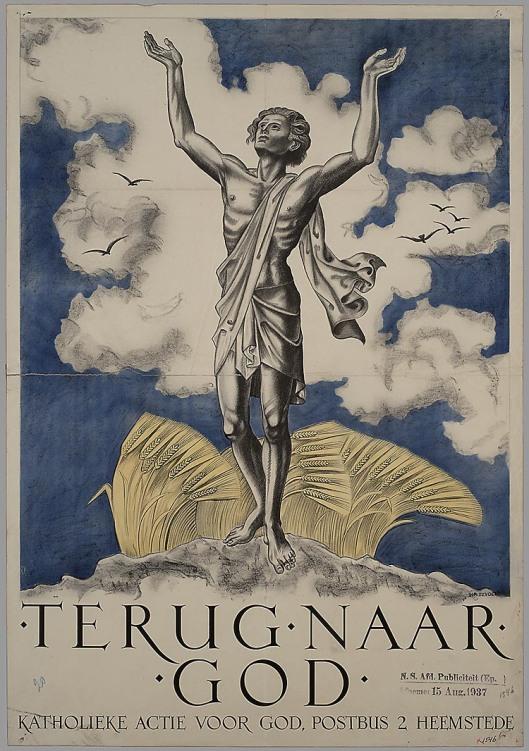 Affiche van 'Actie voor God' , in 1937 in opdracht van Divendal vervaardigd door H.A.Bijvoet (NHA).