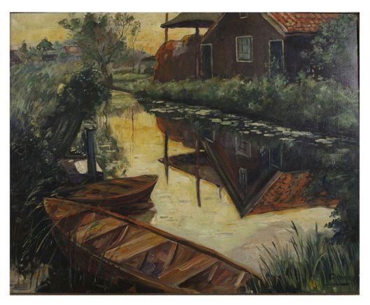 J.J. (Jaap) Doeser (1884-1970), boerderij aan vaart in Bennebroek