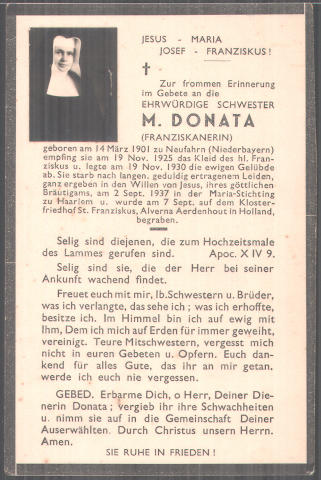 Bidprentje van Fransiscanes zuster M.Donata, geb. 1901, overleden 2-9-1937 in de Mariastichting