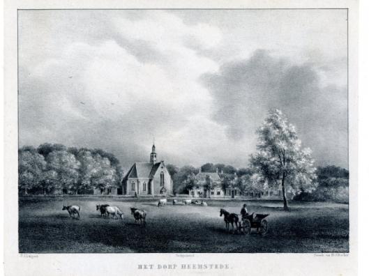 Gezicht op het dorp Heemstede met de Oude Kerk. Steendruk van P.Lutgers uit circa 1840.