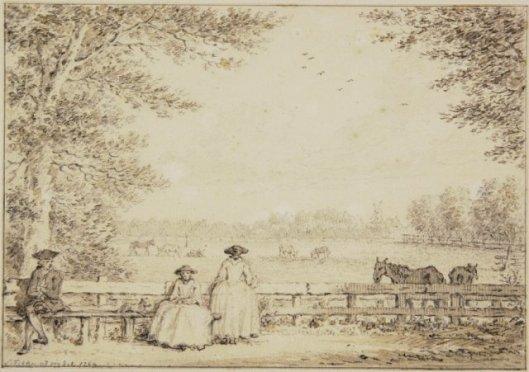 Vanuit zijkamer van de Dorstige Kuil, getekend door Simon Fokke, 1764