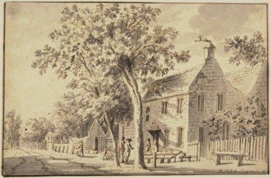 Herberg het Dronkenhuisje aan de Wagenweg Heemstede. Tekening door Paulus Constantijn la Farque (1728-1782) (NHA)