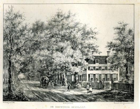 De hofstede Duinlaan onder Bennebroek, getekend en gelithografeerd door P.Lutgers omsteeks 1840
