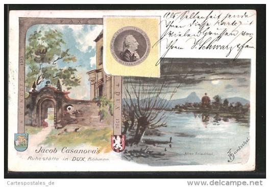 Oude ansichtkaart Casanova en Dux/Duchcov
