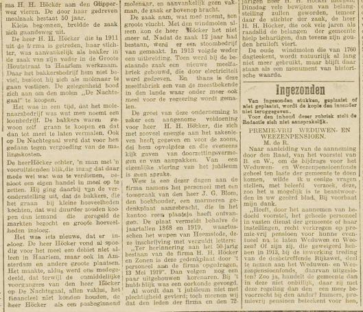 Jubileum der firma H.H.Höcker Zonen. Een zeldzaam jubileum mag de fir.... (Uit: Haarlem's Dagblad van 12 mei 1919)