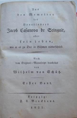 Titelblad van deel 1 van de werken van Casanova uit 1822.