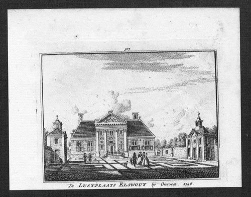De lustplaats Elswout bij Overveen. Gravure uit 1746 Uit: De Tegenwoordige Staat, Het Verheerlijkt Nederland en de Vaderlandsche Gezichten.