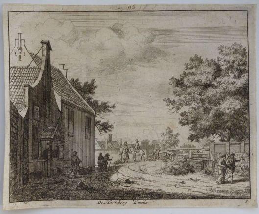 De herberg Emaus in Crayenest Heemstede omstreeks 1700. Ets door Vincent van der Vinne