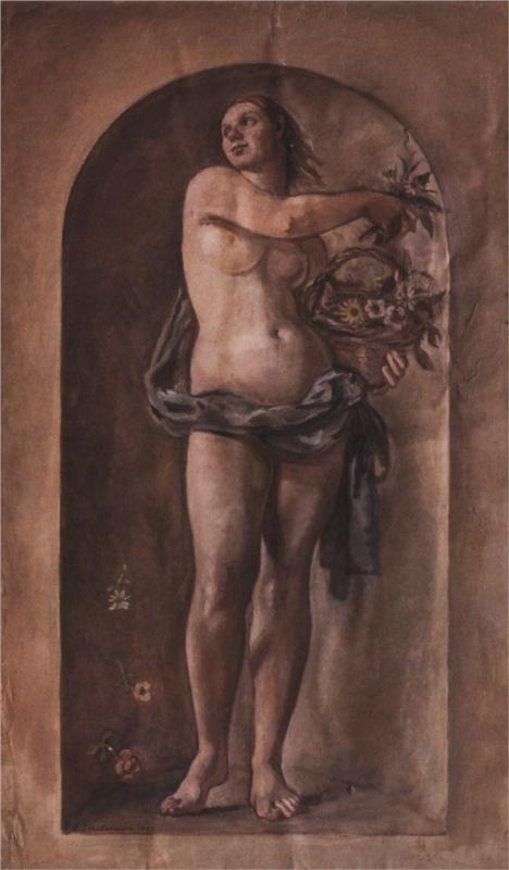 Schildering van Zinaiva Serebriakova, geboren in 884 in Ukraine en overleden in 1967 te Parijs. De godin (nimf) Flora, 1935.