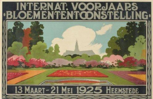 Reclameaffiche van Int. Voorjaars Bloemententoonstelling in Heemstede 1925