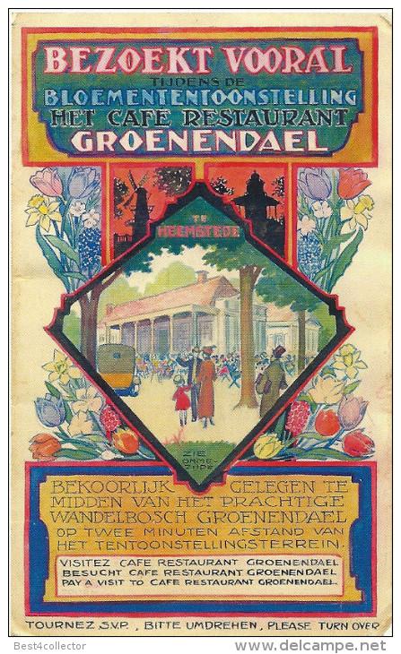 Opwekking om restaurant Groenendaal tijdens de Flora 1935 te bezoeken.