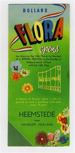Engelstalige flyer van Flora 1953, Heemstede