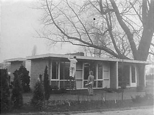 Flora 1953 Heemstede. Bouw van 'Huis der Toekomst