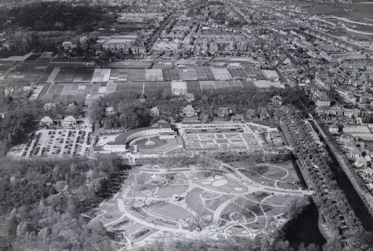 Luchtfoto van het Flora-terrein in 1935.