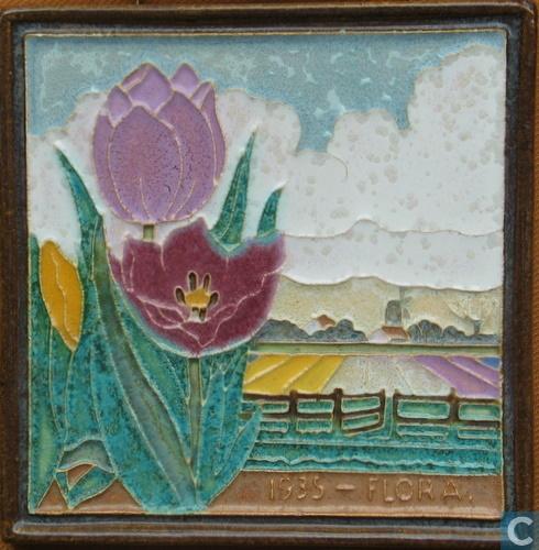 Tegel Flora 1935 met afbeelding van tulpen (Catawiki)