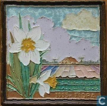 Tegel: Flora 1935 witte narcissen (Catawiki)